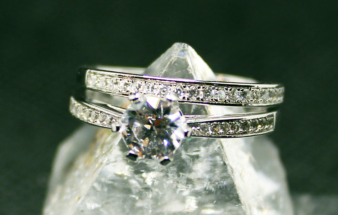 Silver with rhodium finish, cubic inlay, wedding ring set, 2 rings included