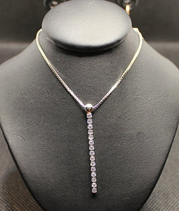 Sterling silver with rhodium finish and cubic necklace