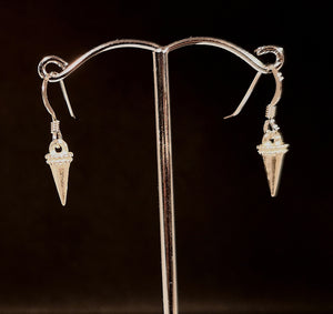 sterling silver earrings solid hanging cone