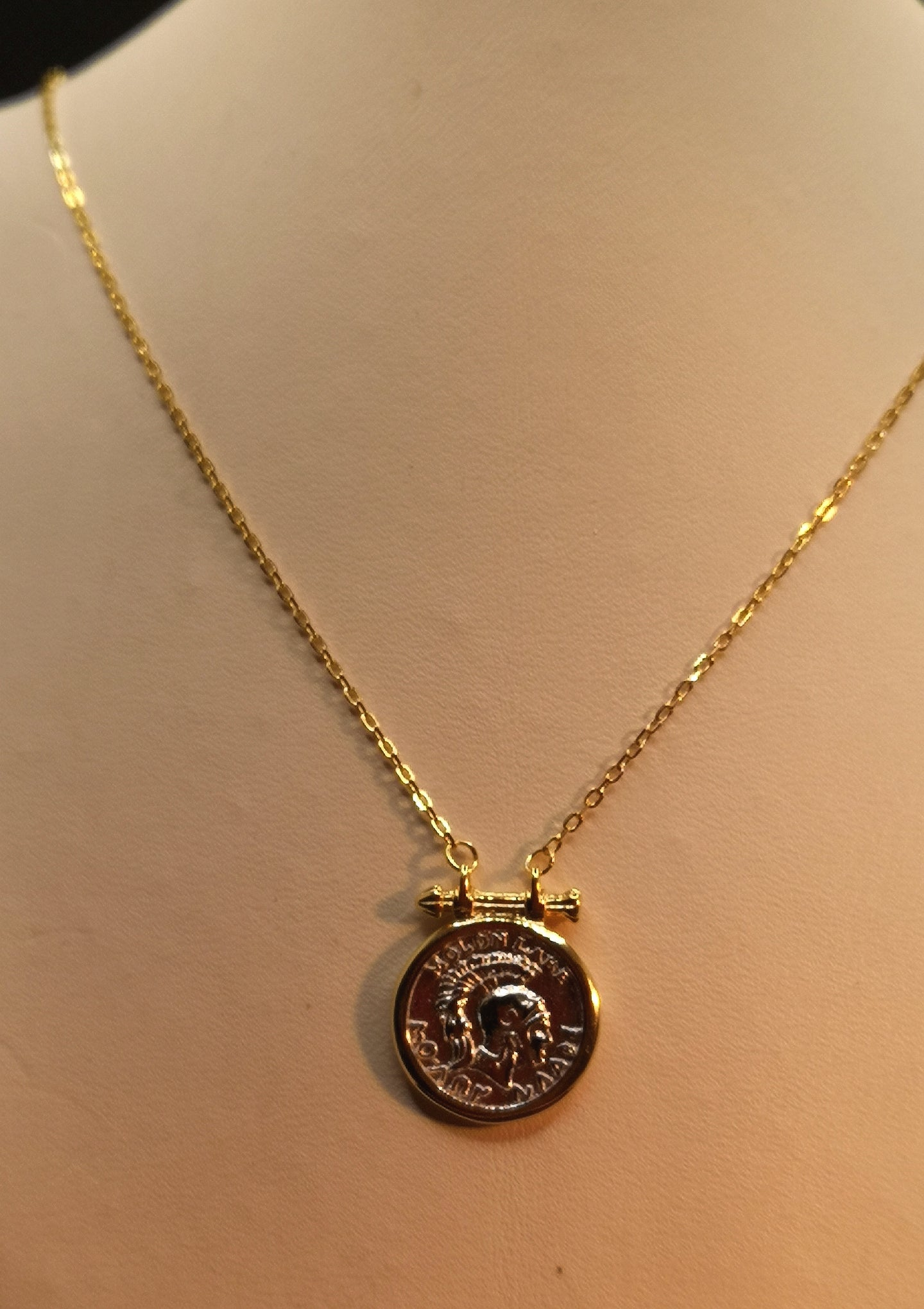 Two tone, silver and gold plate coin necklace in sterling silver with rhodium and gold finish