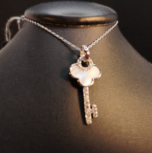 Key necklace set with mother of pearl and cubic in sterling silver with rhodium finish