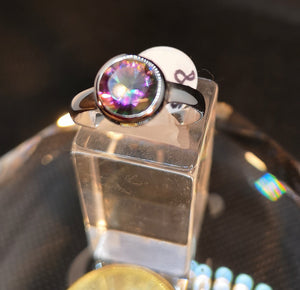Mystic topaz ring in sterling silver with rhodium finish