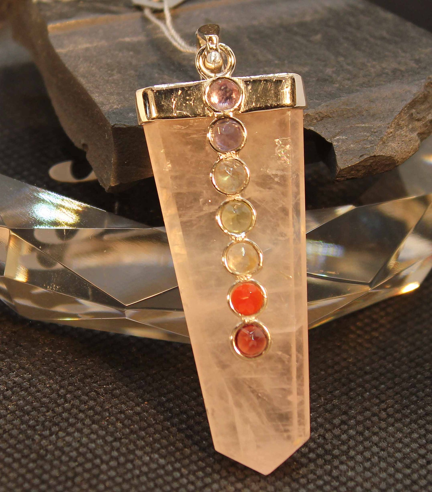 Rose quartz chakra pendant with 7 chakra genuine stones, set in sterling silver