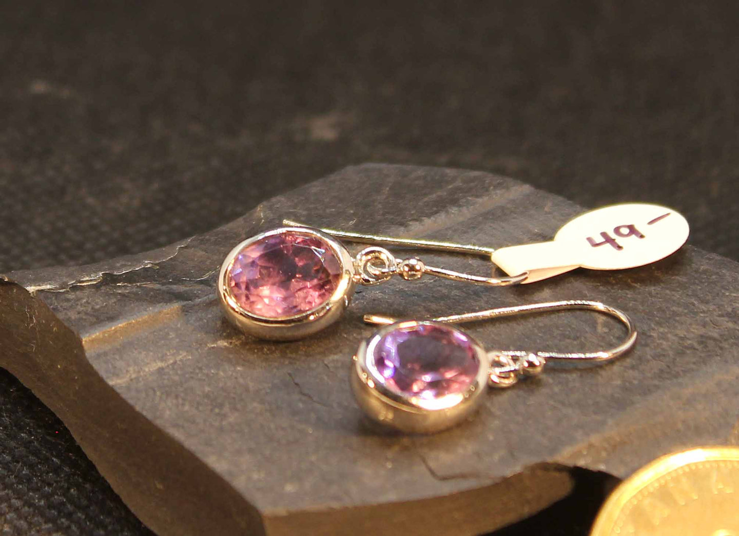 High quality amethyst earring in sterling silver with rhodium finish
