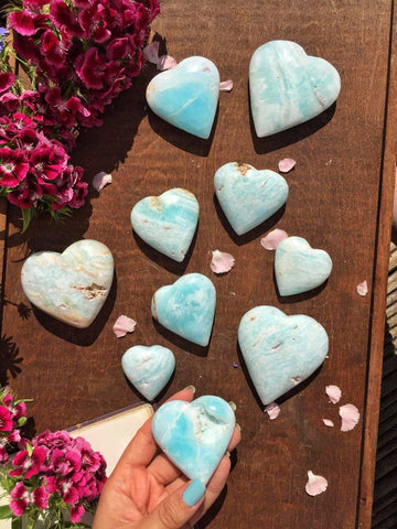 Rare hand carved Caribbean blue calcite hearts