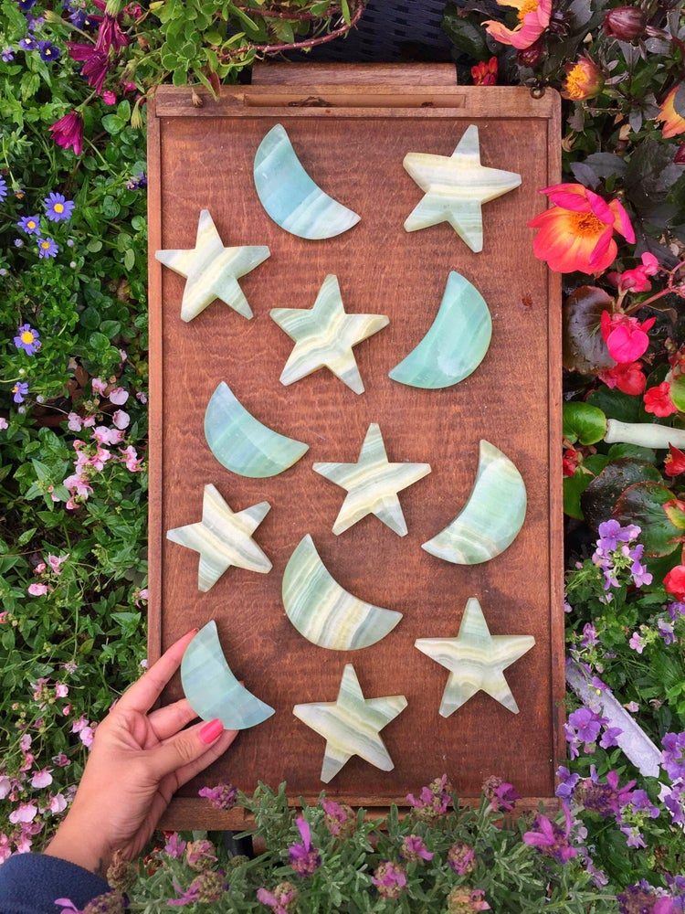Pistachio Calcite Stars and Moons