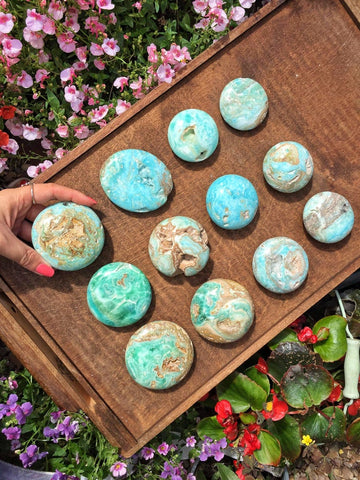 Large round Blue Aragonite Palmstones