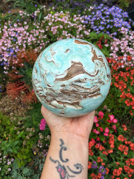 Huge 2.3kg High qulaity Blue aregonite sphere 120mm