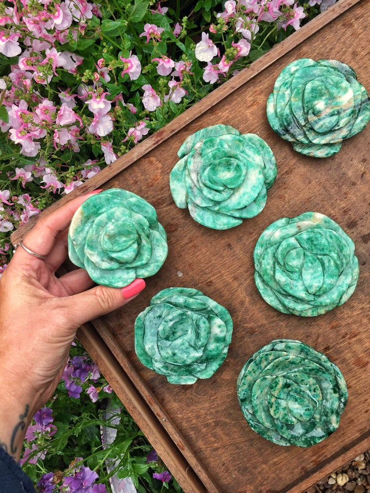 Hand carved amazonite roses