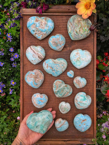 Rare hand carved blue aragonite hearts