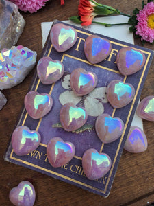 Rose aura quartz hearts