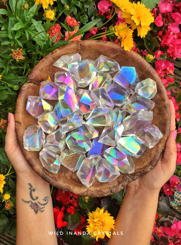 Freeform aura quartz pieces