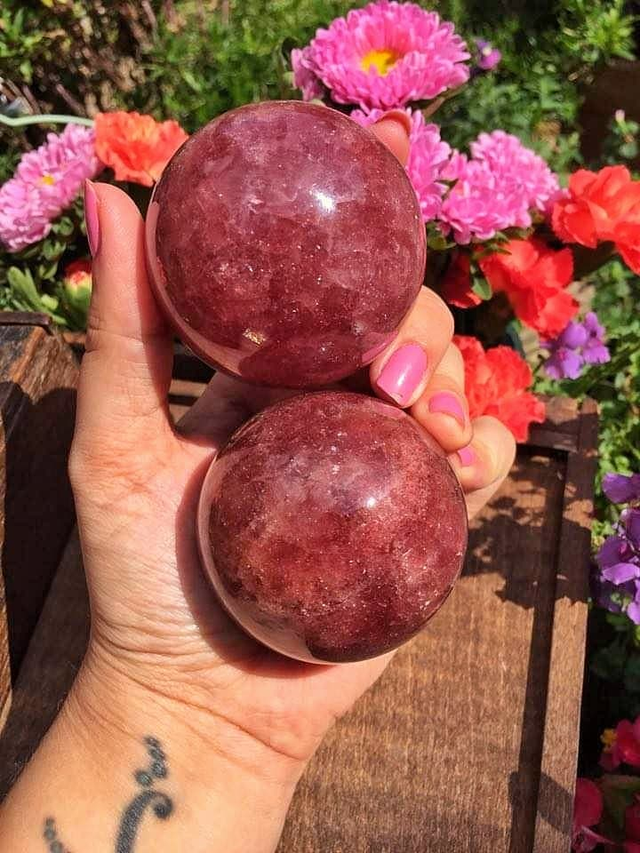 Strawberry quartz sphere