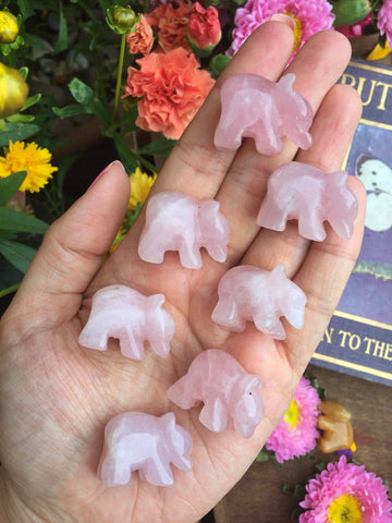 Mini rose quartz bears