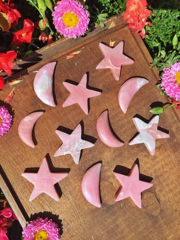 Pink opal Stars and moons