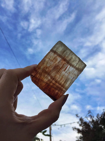 Golden Yellow fluorite slice 140g