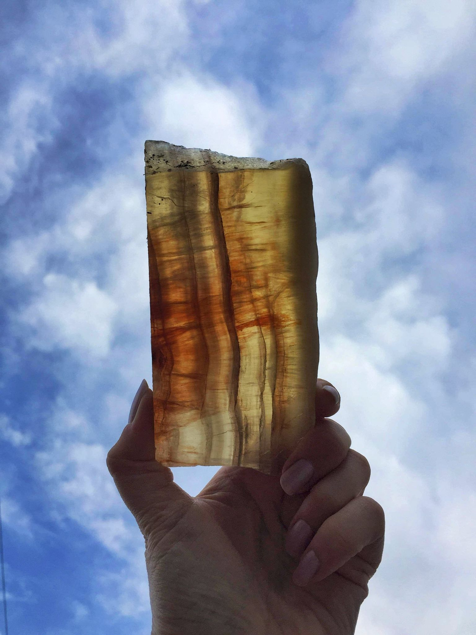 Large golden Yellow fluorite slice 500g