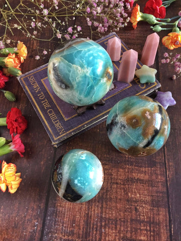 Sky Blue Quartz and chalcedony sphere
