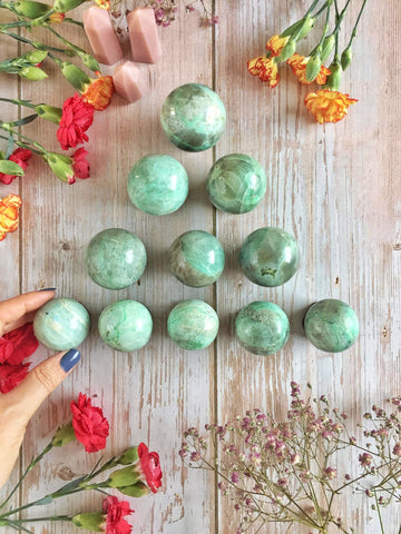 Garnierite Green Moonstone spheres