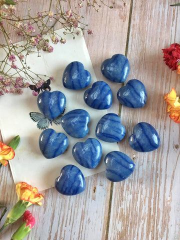 Blue aventurine hearts