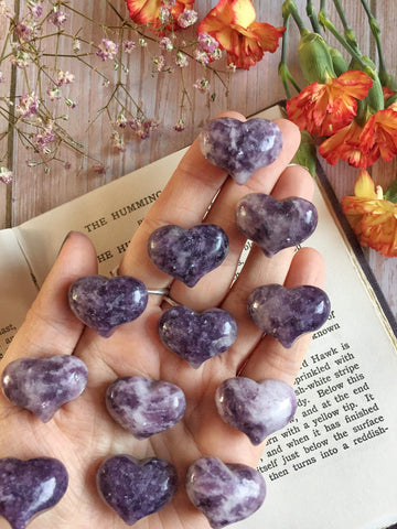 Cute Lepidolite hearts