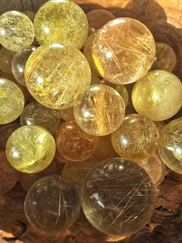 High quality Golden rutilated quartz mini spheres