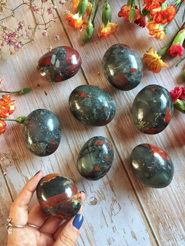 Chunky African bloodstone Palmstones