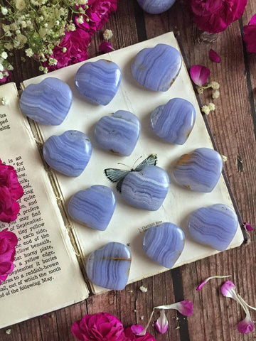 Blue Lace agate hearts