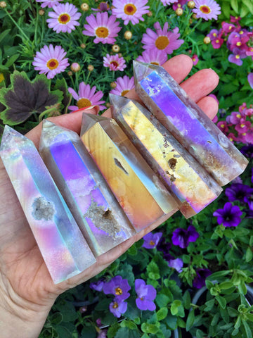 Aura Blossom Agate points