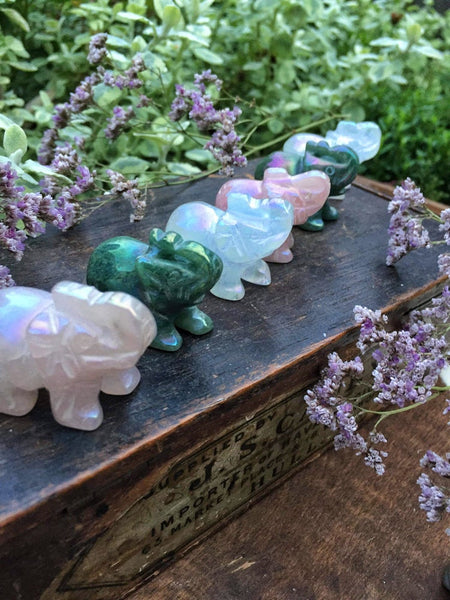 Aura crystal elephants - Rose quartz, quartz and aventurine