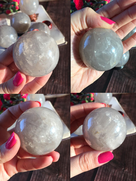 Blue rose quartz spheres