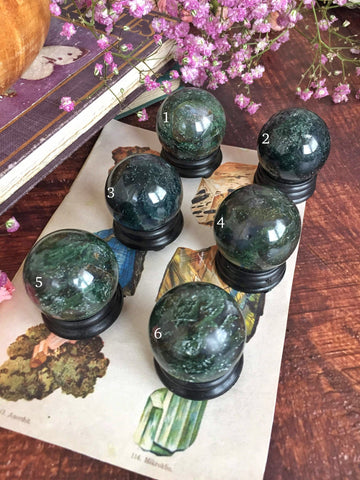 Moss agate spheres