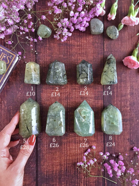 Natural shape polished Prehnite and epidote points