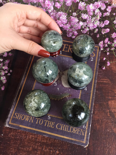 Prehnite and epidote spheres