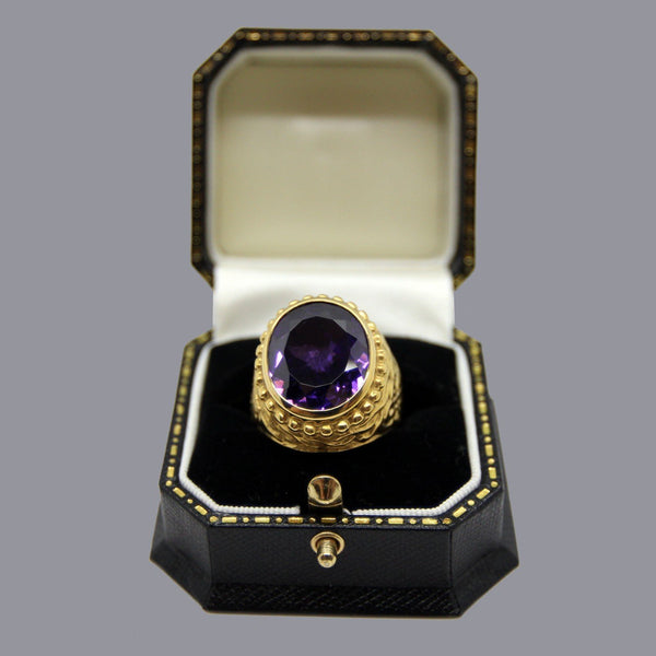 Bishops Ring - Gold Plated Sterling Silver with Amethyst Stone - Watts & Co. (international)