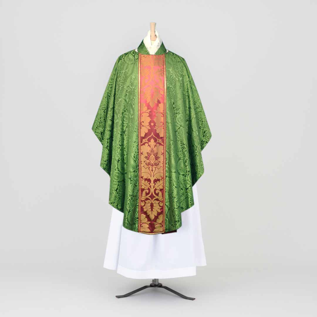 Classic Chasuble & Stole in Green 'Holbein' silk - Watts & Co. (international)