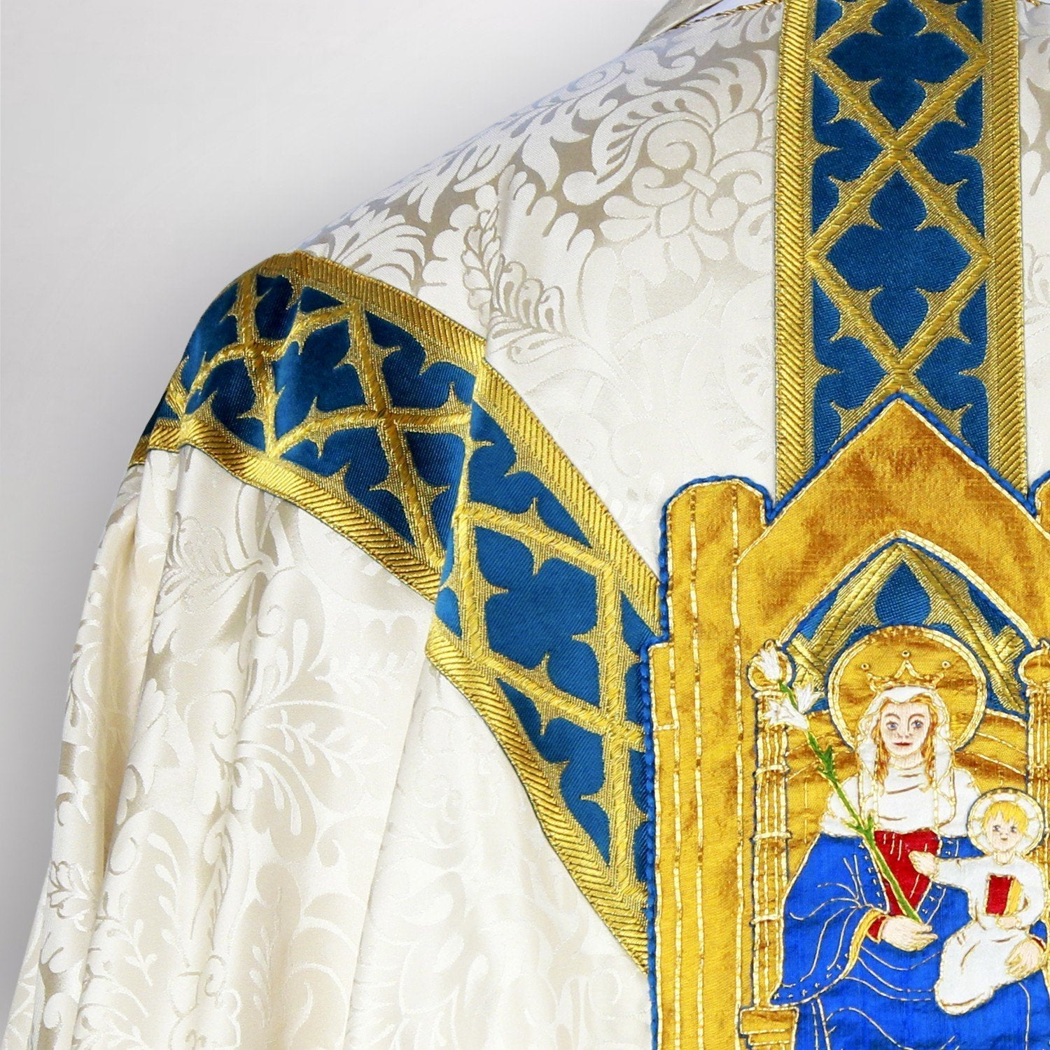 Embroidered Full Gothic Chasuble in Cream Holbein - Watts & Co. (international)