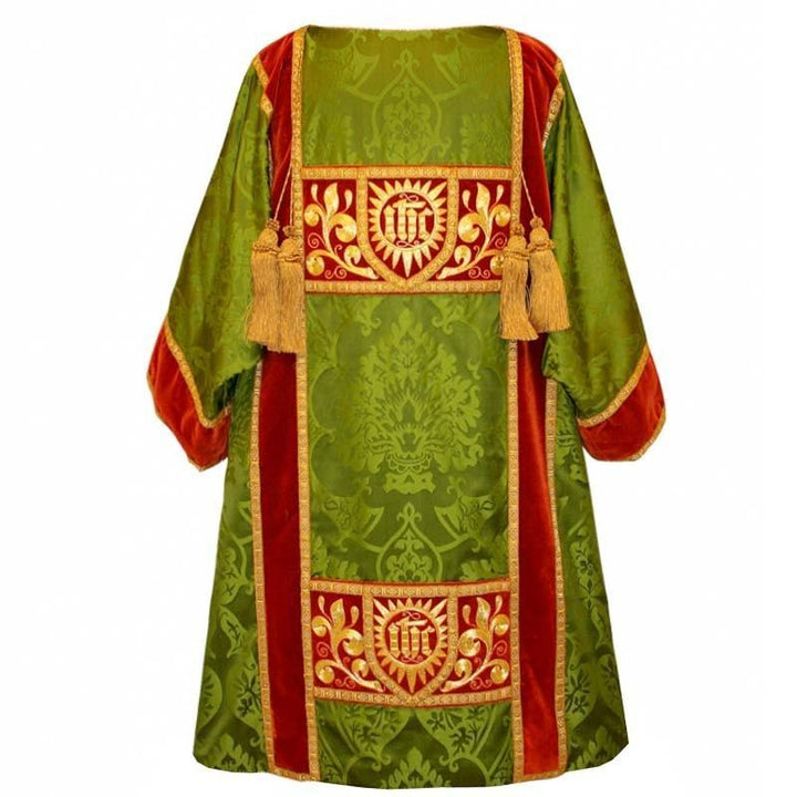 Embroidered Gothic Dalmatic in Green Gothic with Cormaline Velvet Orphreys - Watts & Co. (international)