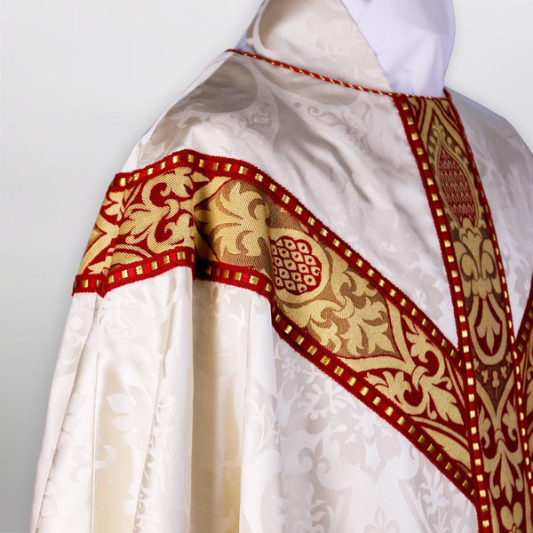 Gothic Chasuble in Cream Gothic with Red Talbot Orphrey - Watts & Co. (international)
