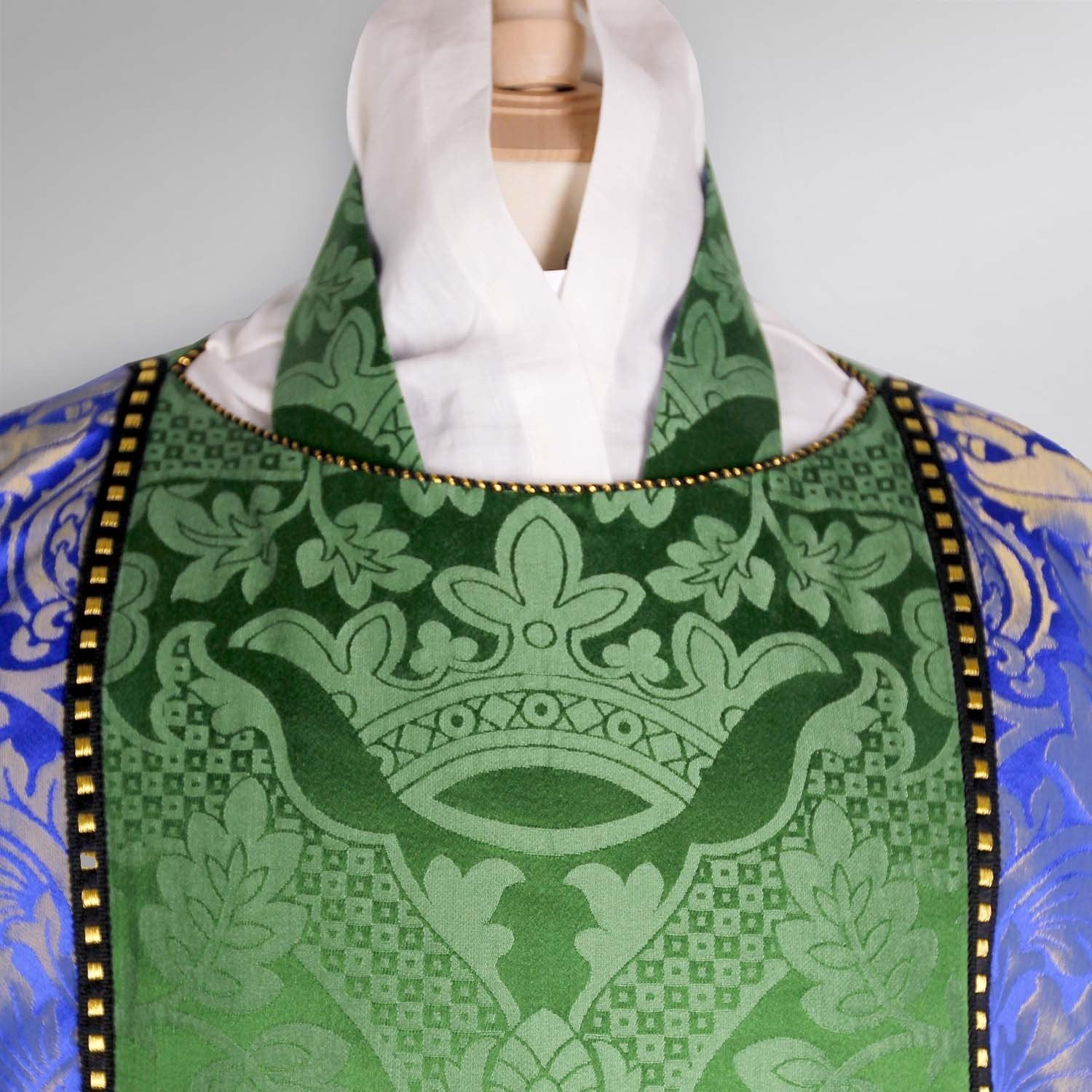 Gothic Dalmatic in Green St Margaret with Blue/Gold Fairford Orphreys - Watts & Co. (international)