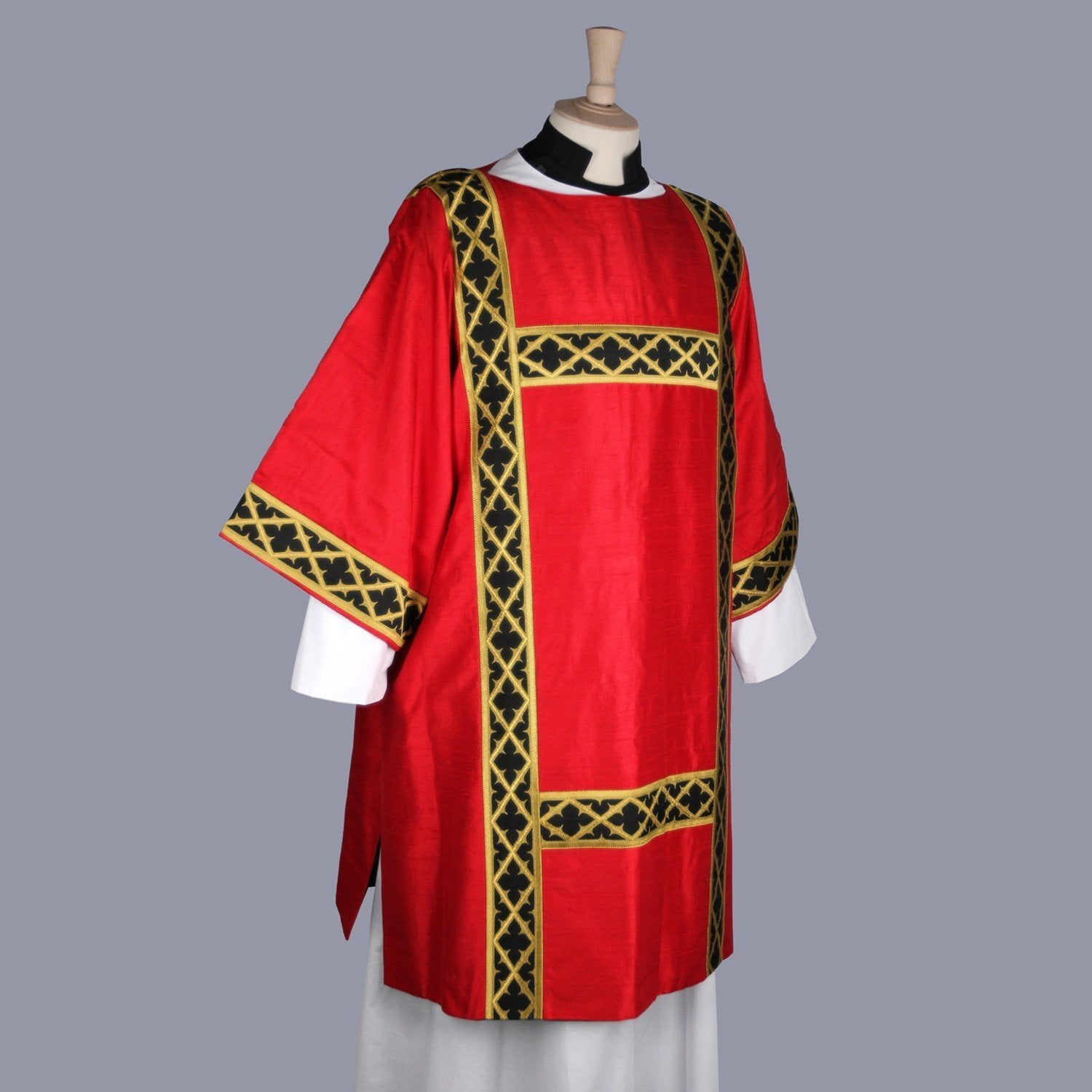 Gothic Dalmatic in Tartan Red Dupion Silk with Black/Gold Trellis Orphreys - Watts & Co. (international)