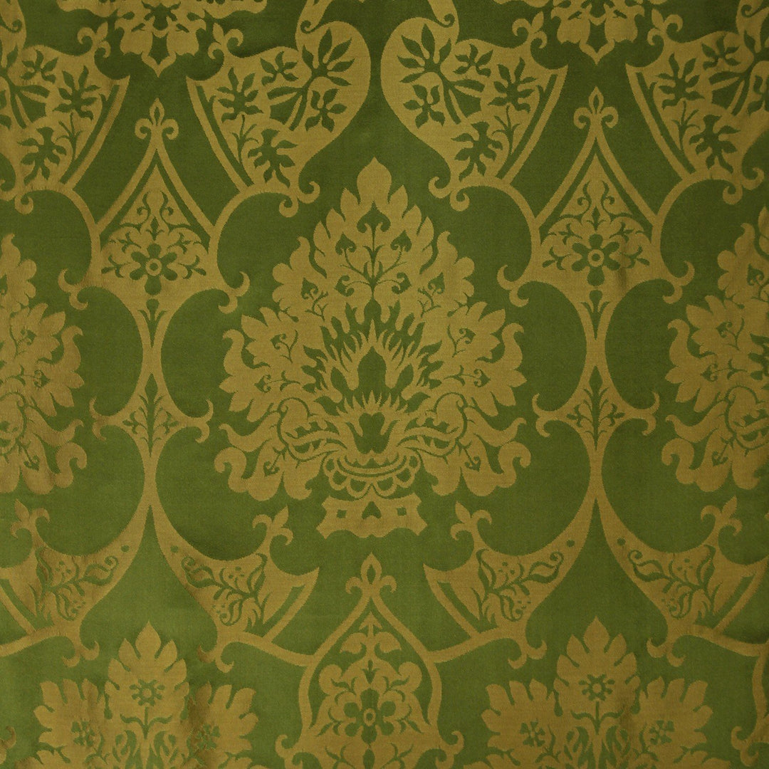 Gothic Silk Damask - Green & Gold - Watts & Co. (international)