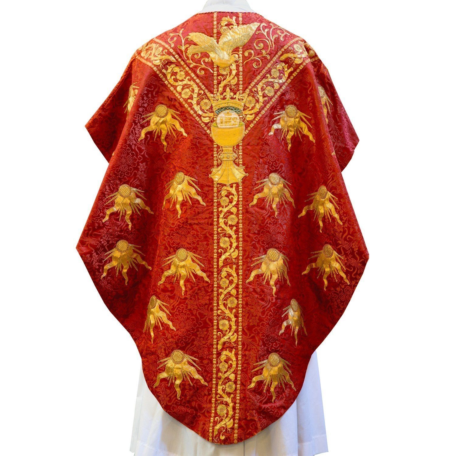 Historic Embroidered Chasuble in Red Japonica Silk - Watts & Co. (international)