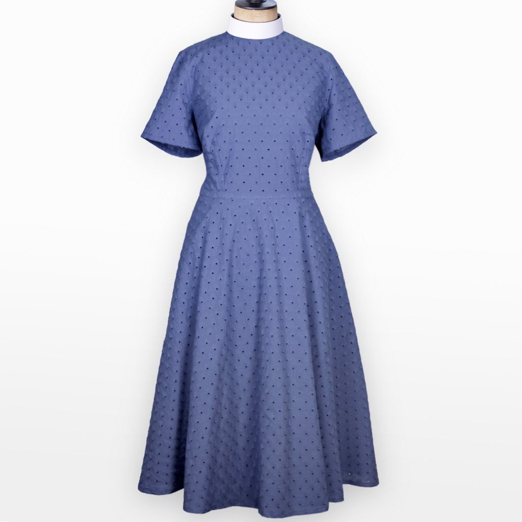 Orelia Cornflower Blue Summer Dress with full clerical collar - Watts & Co. (international)