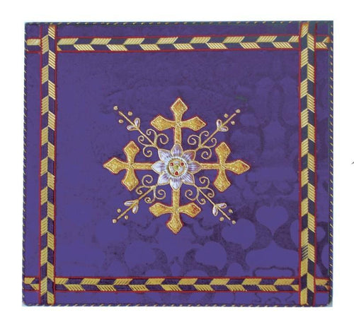 Religious card, purple brocade - Watts & Co. (international)