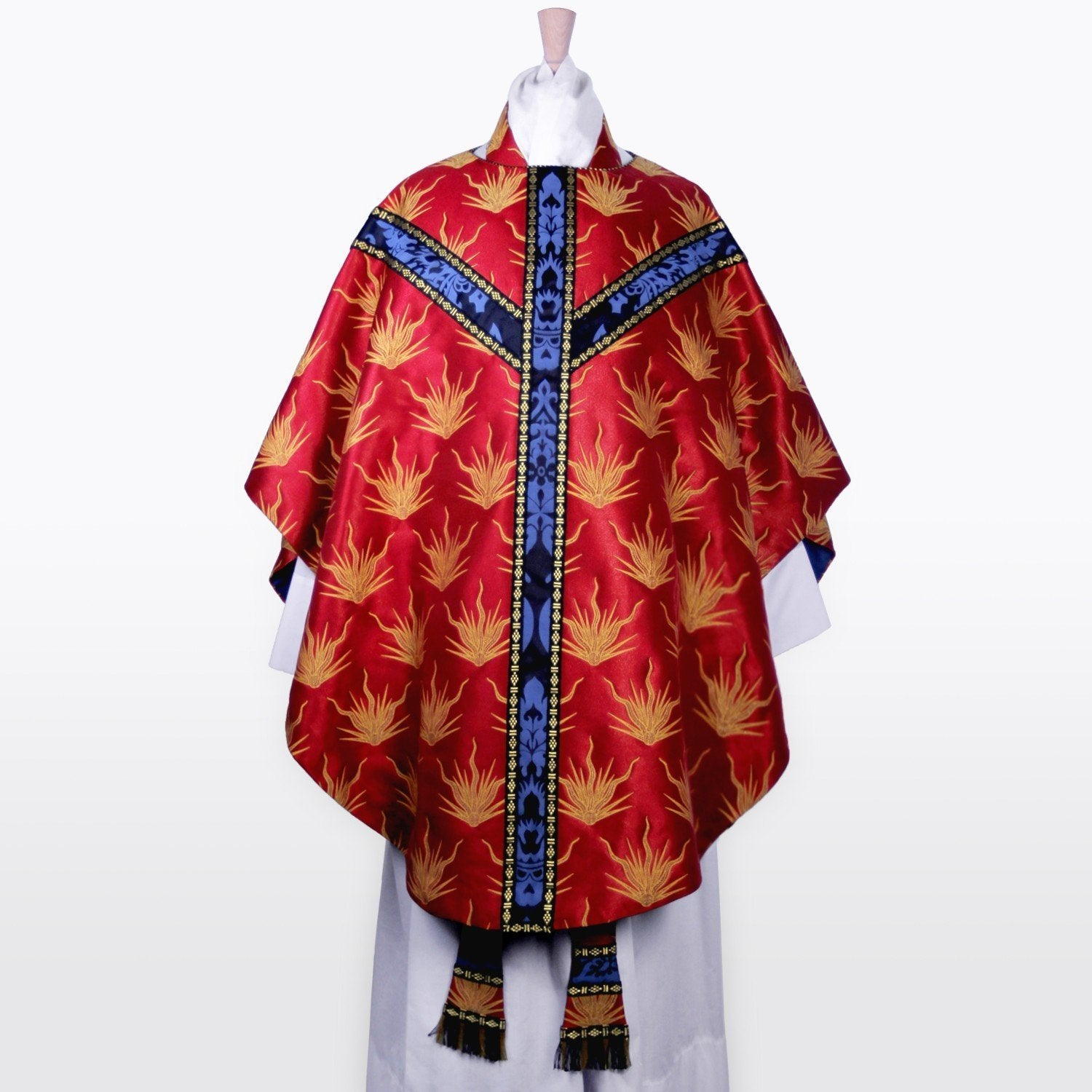 Sarum Style Chasuble in Red Pentecost Brocade - Watts & Co. (international)
