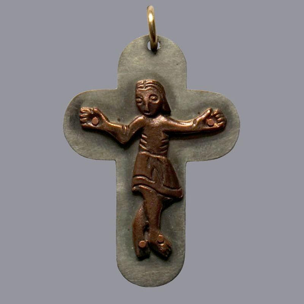 Silver Nickel and Bronze Neck Crucifix, 1.75