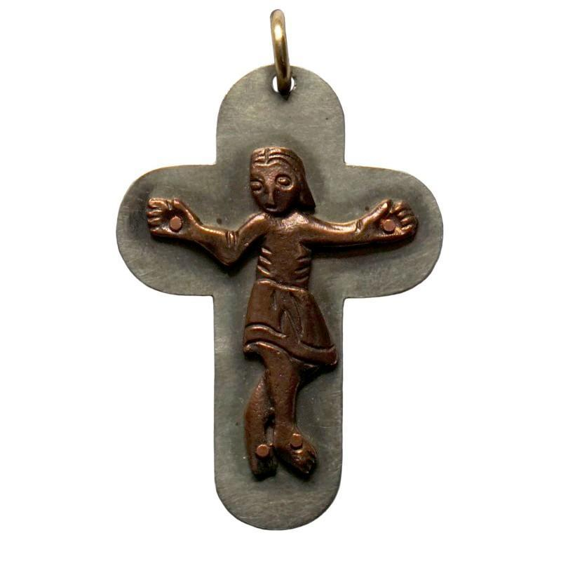 "Silver Nickel and Bronze Neck Crucifix, 1.75"" Length - Watts & Co. (international)"
