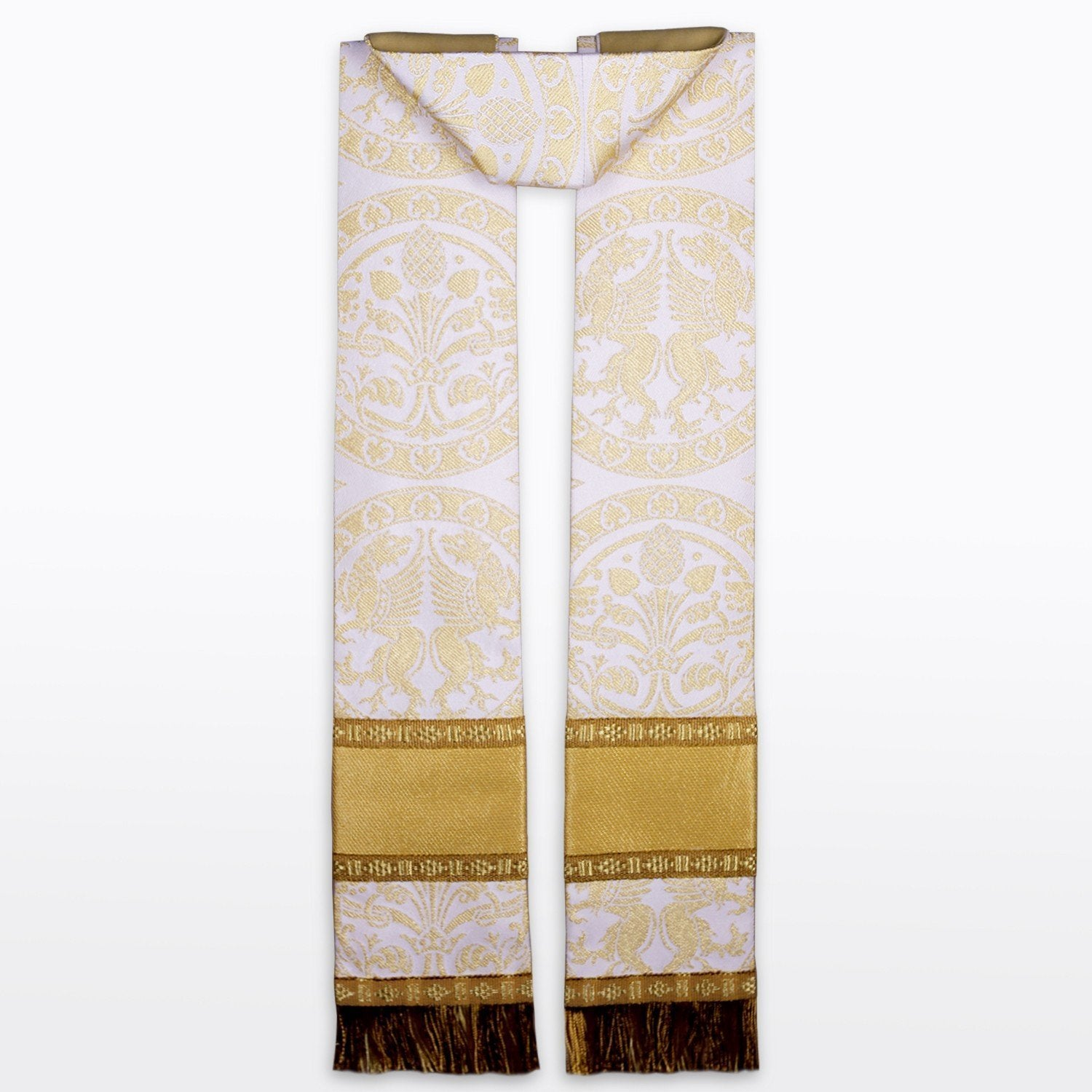 Tufton style stole in White Chalcedon brocade - Watts & Co. (international)