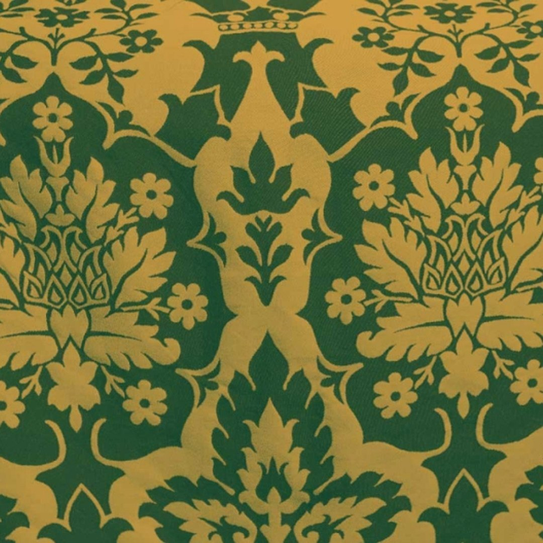 Van der Weyden Silk Brocade - Green & Gold - Watts & Co. (international)